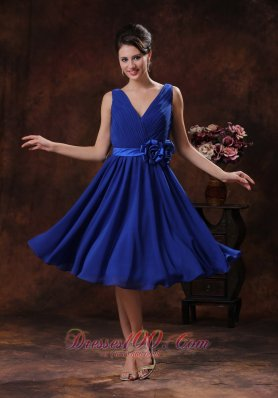 Floral Roral Blue V-neck Ruched Bridesmaid Dress