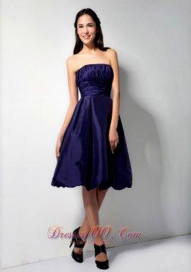 Strapless Purple Taffeta Knee-length Bridesmaid Dress