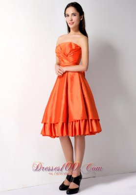 Layered Orange Red Knee-length Taffeta Dama Dress