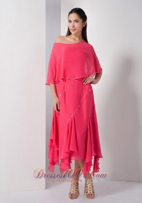 Asymmetrical Chiffon Strapless Mother Of The Brides Dress