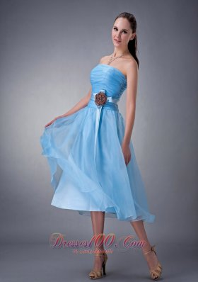 Hand Made Flower Blue Chiffon Dama Dresses Strapless