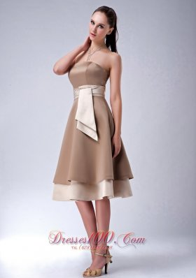 Satin Layered Chocolate Strapless Bridesmaid Dama Dress