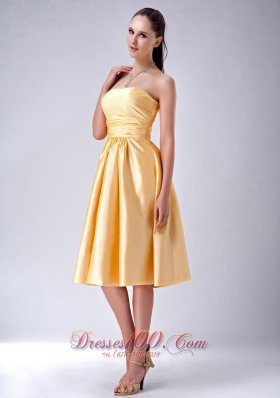 Satin Gold Strapless Tea-length Bridesmaid Dama Dress