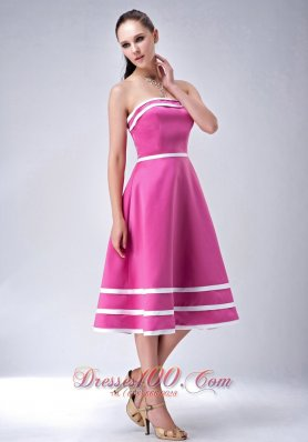 Satin Hot Pink StraplessTea-length Bridesmaid Dress