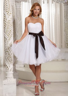 Short White Organza Bow Bridesmaid Dama Dresses