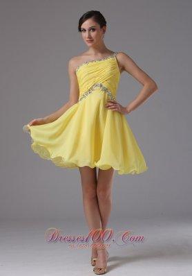 One Shoulder Yellow Beading Chiffon Prom Dama Dresses