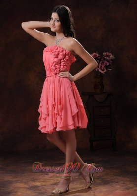 Watermelon Flowers Chiffon Short Homecoming Dama Dresses