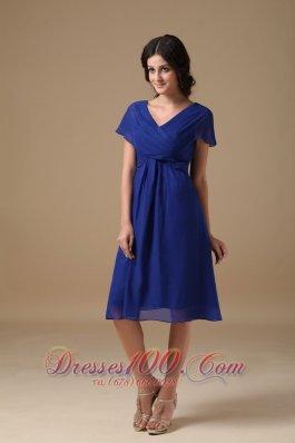 Short Sleeves Royal Blue V-neck Chiffon Mother Dress