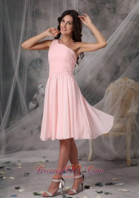 One Shoulder Baby Pink Empire Chiffon Homecoming Dress