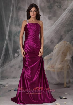 One Shoulder Fuchsia Ruched Taffeta Evening Dama Dress