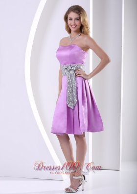 Lavender Sequined Satin Knee-length Prom Dama Dresses