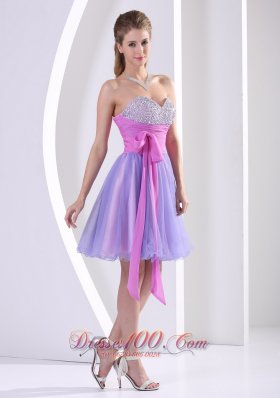Heavy Beading Lavender Mini-length Strapless Bridesmaid Dress