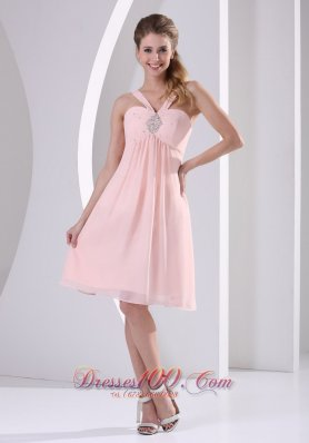 V-neck Baby Pink Empire Knee-length Prom Dama Dresses