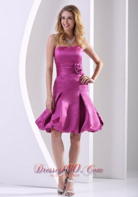 Fuchsia A-line Strapless Satin Bridesmaid Dama Dresses