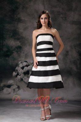 Black and White A-line Strapless Bridesmaid Dama Dress