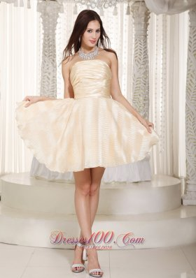 Champagne A-line Strapless Mini-length Prom Dama Dresses