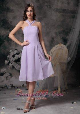 Cross Straps Lilac V-neck Chiffon Prom Dama Dresses