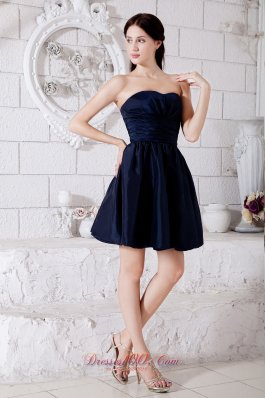Navy Blue Taffeta Ruched Strapless Mini-length Dama Dresses