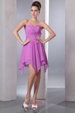 Asymmetrical Lavender Empire Chiffon Cocktail Dama Dresses