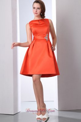 Bateau Orange Red Beading Bridesmaid Dama Dress
