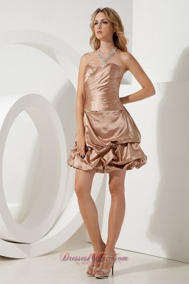 Brown A-line Mini-length Taffeta Cocktail Dama Dresses