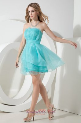 Turquoise Mini-length Organza Ruched Cocktail Dama Dresses