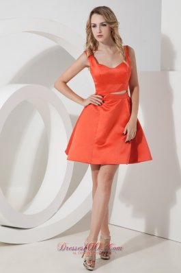 Orange Red A-line Straps Satin Prom Dama Dresses