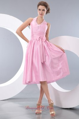 Halter Tea-length Taffeta Pink Bowknot Dama Dresses