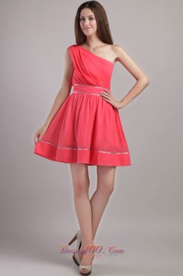 one shoulder coral red aline cocktail dama dresses us