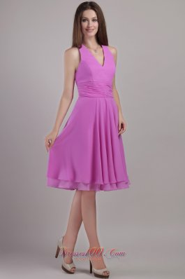 Lavender Halter Knee-length Chiffon Bridesmaid Dama Dresses