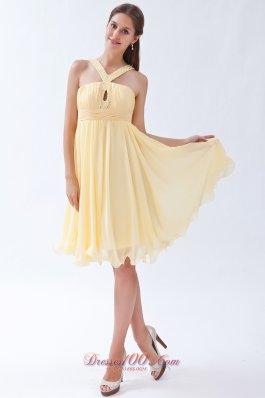 V-neck Yellow Empire Chiffon Beading Prom Dama Dresses