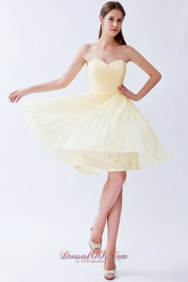 Pleated Light Yellow Empire Bridesmaid Dama Dresses