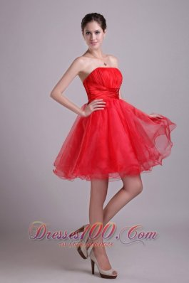 Red A-line Strapless Short Organza Prom Dama Dresses