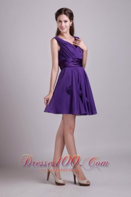 V-neck Mini-length Purple Chiffon Bridesmaid Dama Dresses