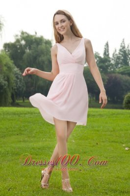 V-neck Baby Pink Mini-length Chiffon Bridesmaid Dress