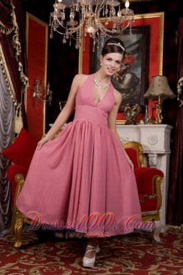 Tea-length Halter Pink Chiffon Homecoming Dama Dresses