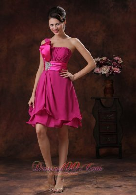 One Shoulder Fuchsia Short Homecoming Dama Dresses