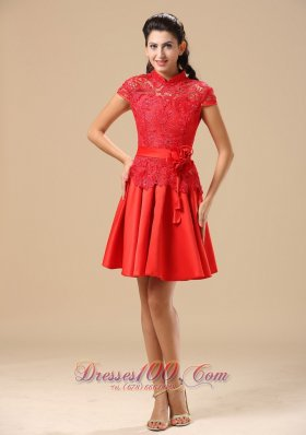 High Neck Lace Red Handmade Flowers Homecoming Dress
