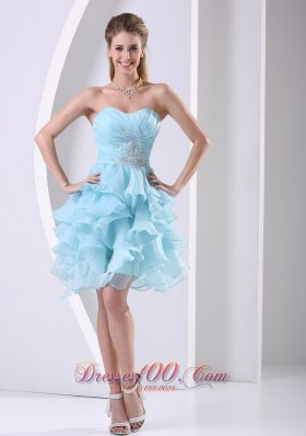 Aqua Blue Prom Cocktail Dress Ruffles Ruching Beading