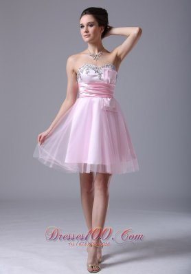 Baby Pink Bow Sash Prom Graduation Dress Tulle Beading Pleated