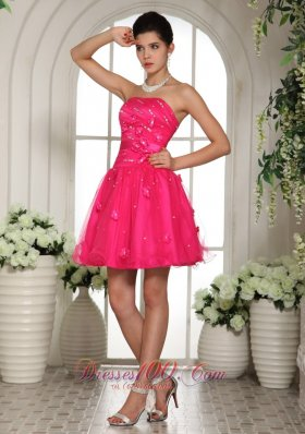 Hand Flowers Cocktail Homecoming Short Hot Pink