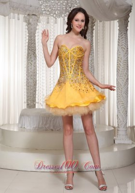 Beading Yellow Tulle Layered Cocktail Holiday Dress for Party