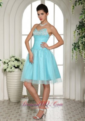 Baby Blue Beading Prom Party Dress Ruches Knee Length