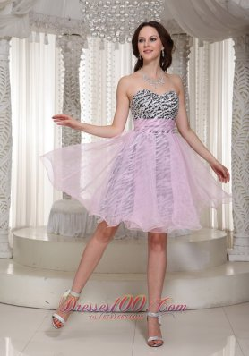 Zebra Pattern Prom Homecoming Short Dress Baby Pink
