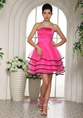 Paty Dress Layered Hot Pink Short Lace Up Back