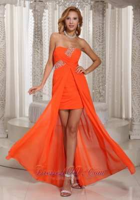 Orange High Low Homecoming Prom Chiffon Party Style