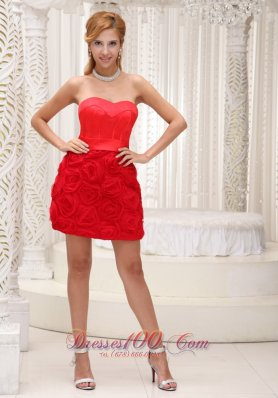 Rolling Flowers Mini Length Red Prom Cocktail Dress