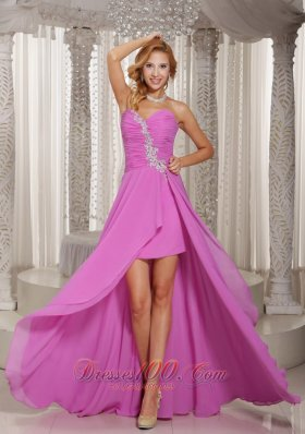 High Low Lavender Prom Evening Dress Ruches Chiffon