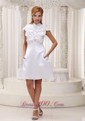Cap Sleeves High Neck Prom Homecoming Dress Ruffles