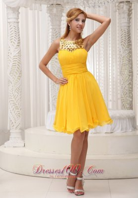 Gold And Yellow Short Cocktail Dress Ruched Chiffon